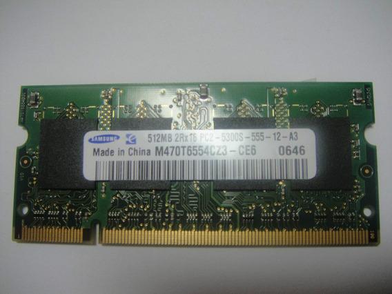 Memória Samsung 512 Mb Pc2-5300 Ddr2 Mm470t6554ez3-ce6