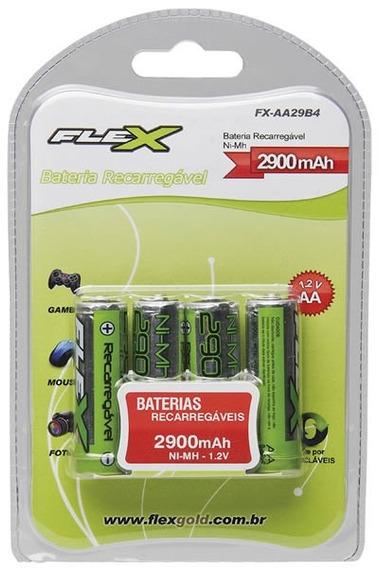 Pilha Bateria Flex Aa Recarregável C/04 - 2900mah Ni-mh