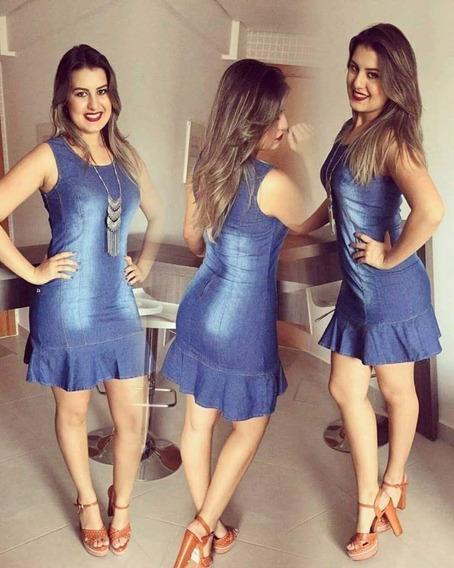 Vestido Jeans Peplum Prazo De Envio 2 Dias