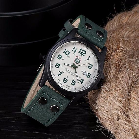 Relógio Masculino Militar Com Calendário Verde E Branco