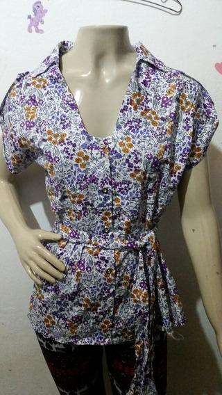 Blusa Camisete Floral Com Cinto Decote Linda Camisa Social