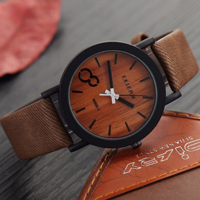 Relógio Feifan M009 Fundo Cor De Madeira E Pulseira De Couro