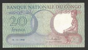 Congo (ex-zaire) 20 Francos 1961 P.4 S/fe Cédula - Tchequito