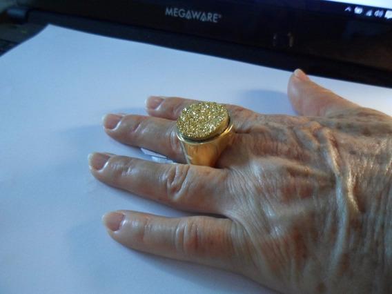 Anel Drusa Dourado Semijoia Redondopedra 2x2cm Altura 1cmt23