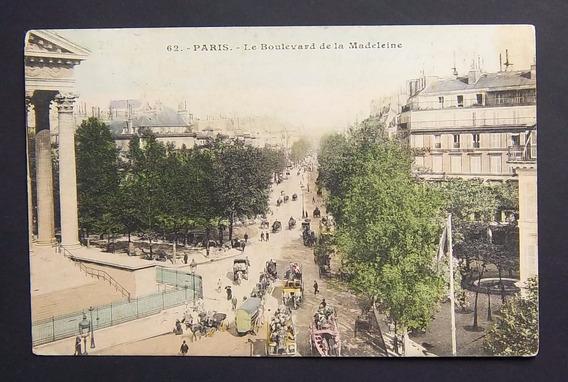 Postal Francia Paris Bulevar De La Madeleine Usada Exc 1907