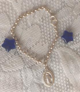 Pulsera Plata 925 Con 2 Dije Estrellas Azules Y Virgen