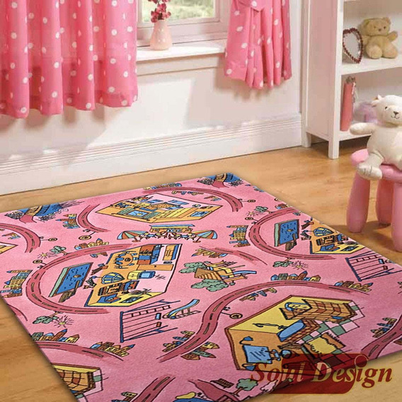 Carpeta Alfombra Calles Y Casa Barbie 140 X 200 Cm Soul