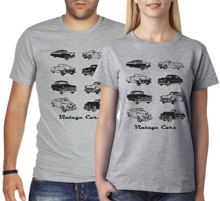 Remera Autos Vintage-estampados Con Onda-diseño Exclusivo