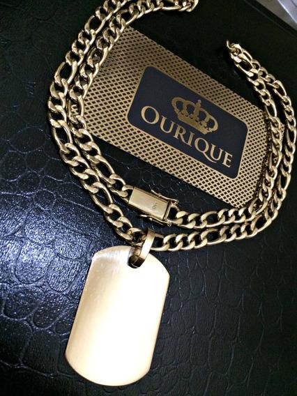 Corrente Grumet 3x1 Em Ouro 18k Com Pingente Placa Promoção