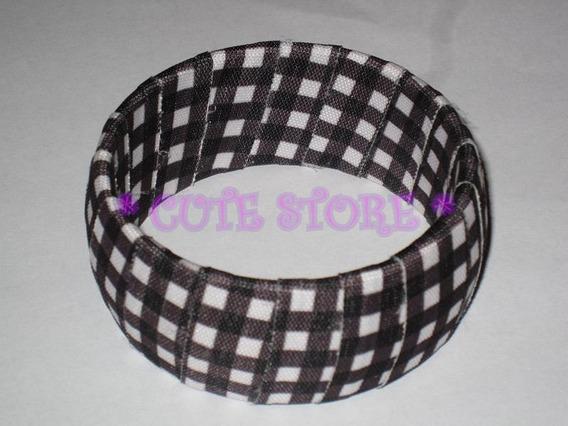 Pulseira / Bracelete Pano Quadriculado Preto / Branco