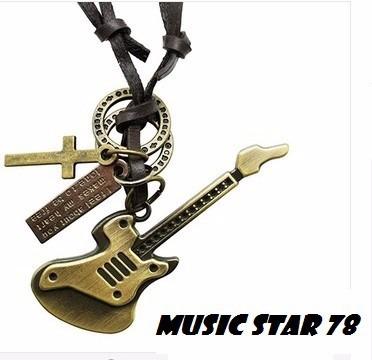 Cordao Couro Masculino Escapulario Musico Dj Mc Guitarra