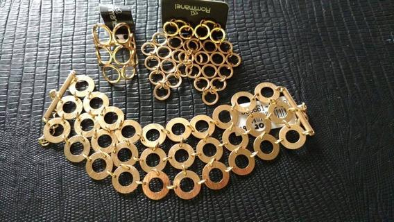 Conjunto 3 Peças Rommanel Brinco+pulseira+anel Elos Folheado