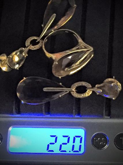 Conjunto-anel-brincos-ouro 18k-22.0gr.aro-22-comp.50mm.
