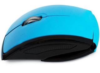 Excelente Mouse Óptico Curvo Negro / Azul Inalámbrico Usb.