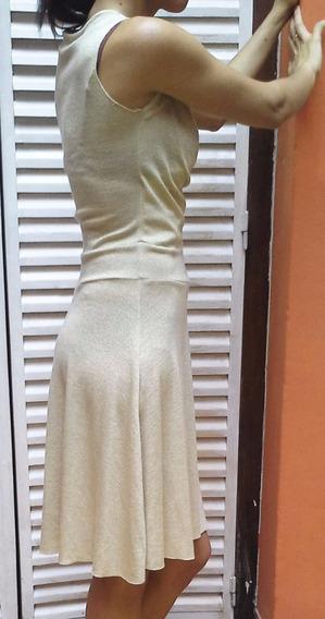 Vestido De Fiesta Jersey De Lycra Con Brillos Dorados