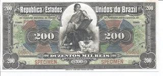 Réplica Cédula 200 Mil Réis - R147 - Specimen