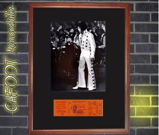 Elvis Presley Foto Y Entrada Recital Enmarcada N. York 1972