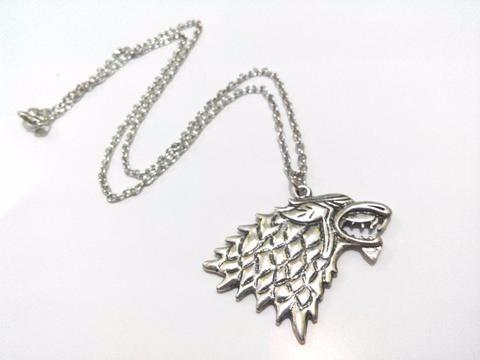 Colar E Pingente Stark Game Of Thrones Lobo Wolf - Excelente
