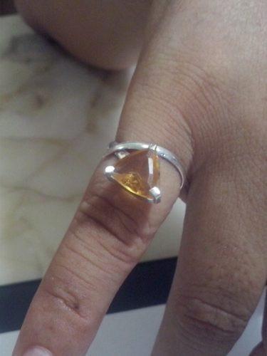 Anel De Prata + 1 Pedra Natural (citrino) + Frete Grátis