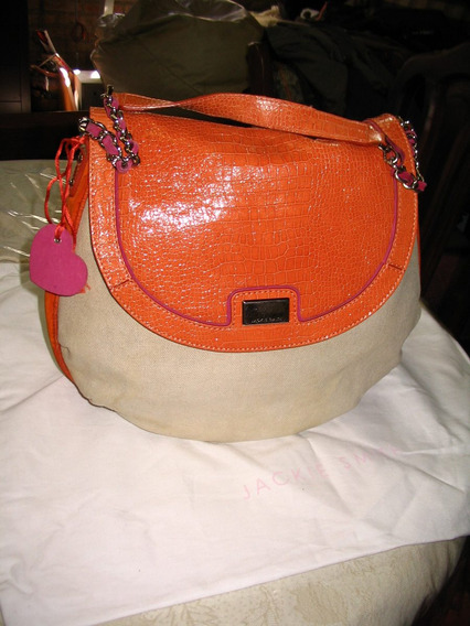 Cartera Jackie Smith Lona Natural Beige Charol Nobuk Naranja