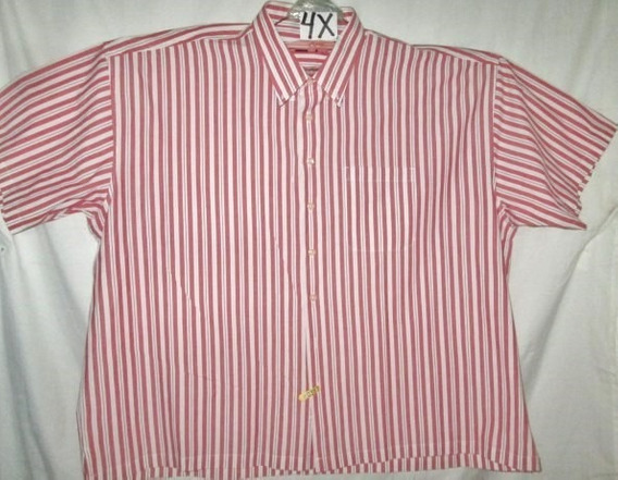 Camisa Casual Rojo/crema De Rayas Talla 4 X Izold