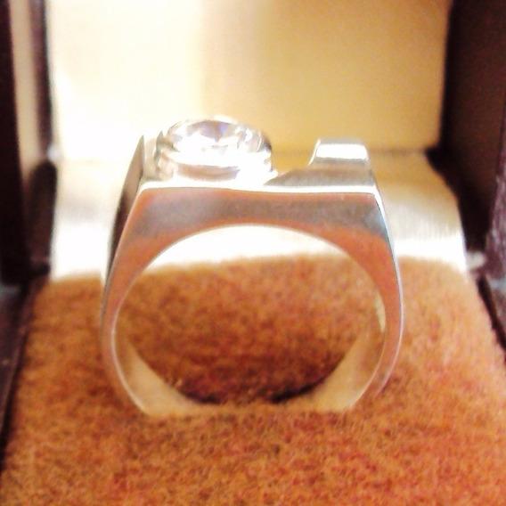 006 Bjr- Anel De Prata Maciça 950 K- Pedra Zircônia