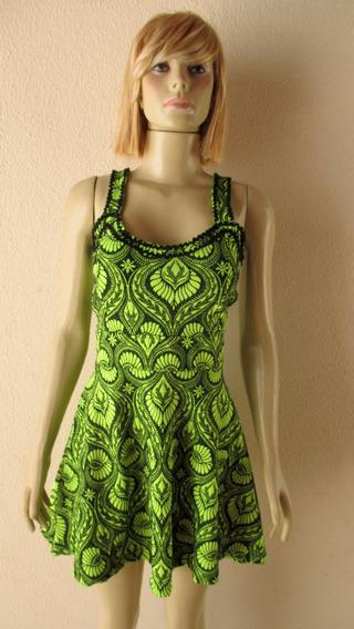 Vestido Evasê Verde Estampado Com Bojo