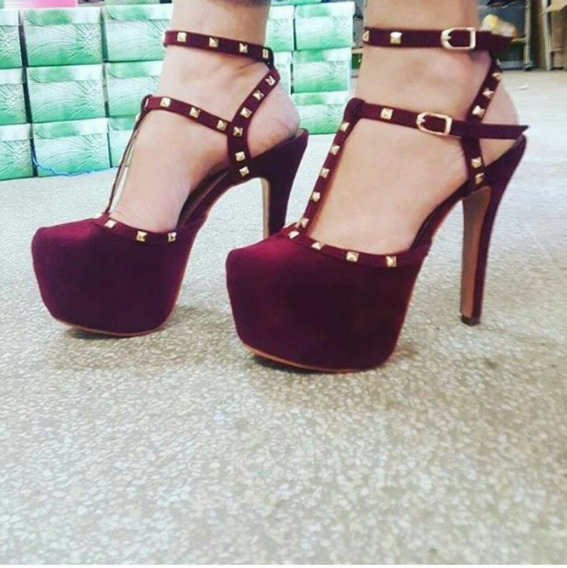 Sapatos Femininos Sandálias Plataforma Com Spikes