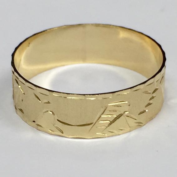 Anel Aliança Escrava Maciça Amarela Ouro 18k 750