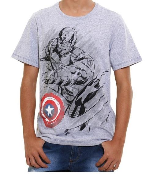 Camiseta Juvenil Manga Curta Capitao América Tam12 !nova