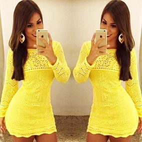 4c07b6832 Vestido Infantil Em Croche Amarelo - Vestidos com o Melhores Preços ...