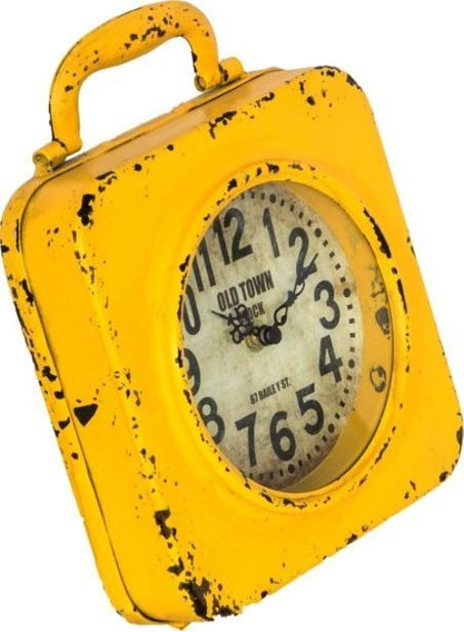 Relógio De Mesa Amarelo Em Ferro Oldway 24x20x5cm