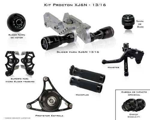 Kit De Slider Procton Racing Yamaha Xj6n Xj6 N - 7 Pçs