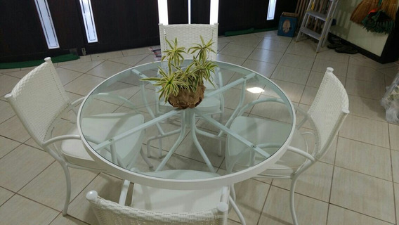 Mesa Em Alumínio Com 4 Cadeiras