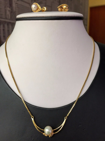 Colar-brincos Ouro 18k-750-pérolas-9,8gr.41cm.com.