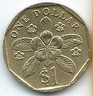 Moneda De Singapur 1 Dolar 1997 Linda Moneda