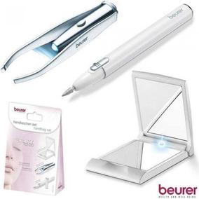Kit De Manicure Pinça Espelho Com Led E Caneta Lixa Beurer