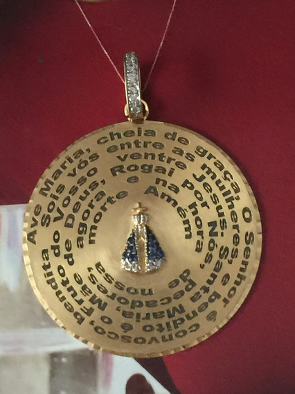 Pingente Ouro 18k-9.0gr Brilhantes C/santa Oração Ave Maria