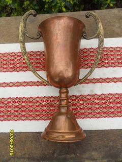 Antigua Copa De Cobre Y Bronce Grande Mide 42cm