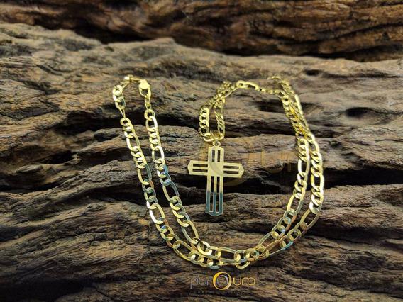 Cordão 3x1 + Pingente Crucifixo Em Ouro 18k - 750 / 15,0g