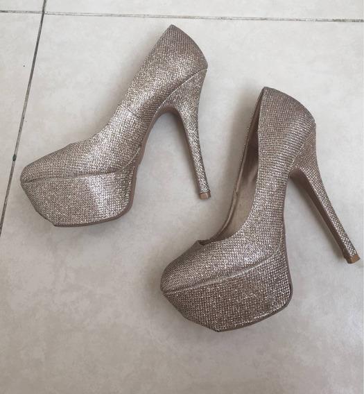 Zapato Dorados Brillos Pump 4.5 Tipo Madden Oro Fiesta Noch