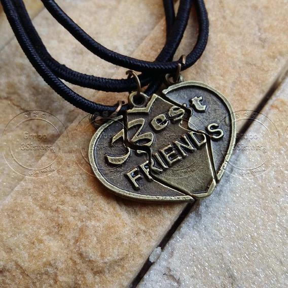 Colar Da Amizade Coração 3 Metades Correntinha Best Friends