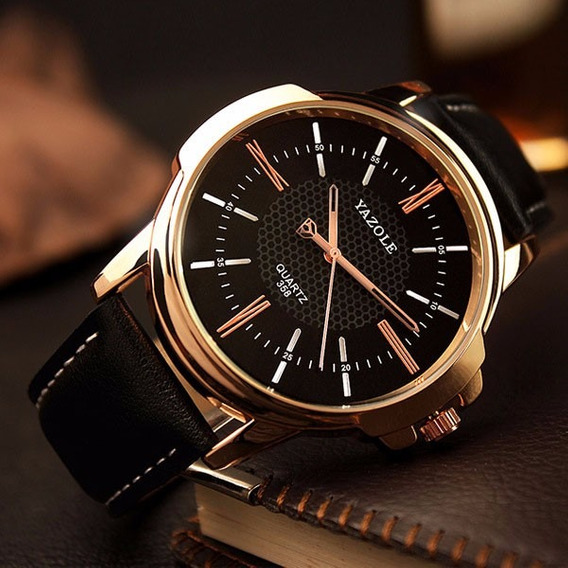 Relógio Masculino Couro Yazole Original 12x Sem Juros