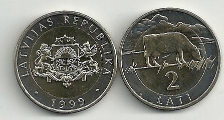 Moneda Letonia Año 1999 Bimetalica 2 Lati Sin Circular