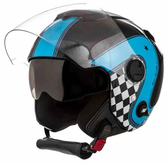 Capacete Moto Custom New Atomic Vintage Preto Azul 60