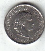 Suiza Moneda De 5 Rappen Año 1966 !!!