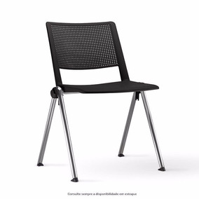 Cadeira Up Em Polipropileno Preto Com Estrutura Cromada