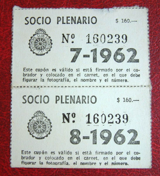 2 Antiguo Abono Automovil Club Argentino - Socio Plenario -