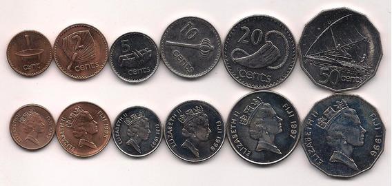 Serie De 6 Monedas De Fiji Año 1995/99 Sin Circular