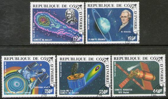 Costa De Marfil 5 Sellos Aéreos Usados Cometa Halley 1986
